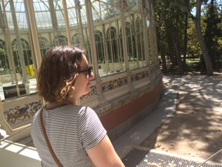 Lingering in the Palacio de Cristal (Crystal Palace) in Madrid.