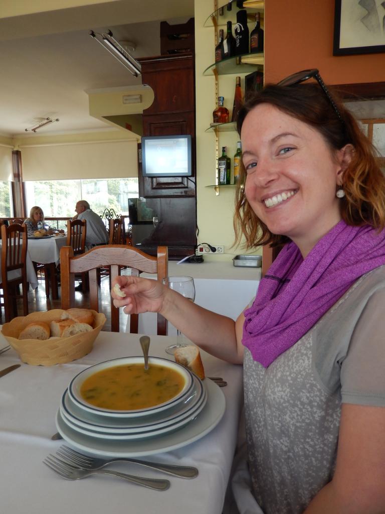 Dreamer enjoys some Portuguese soup