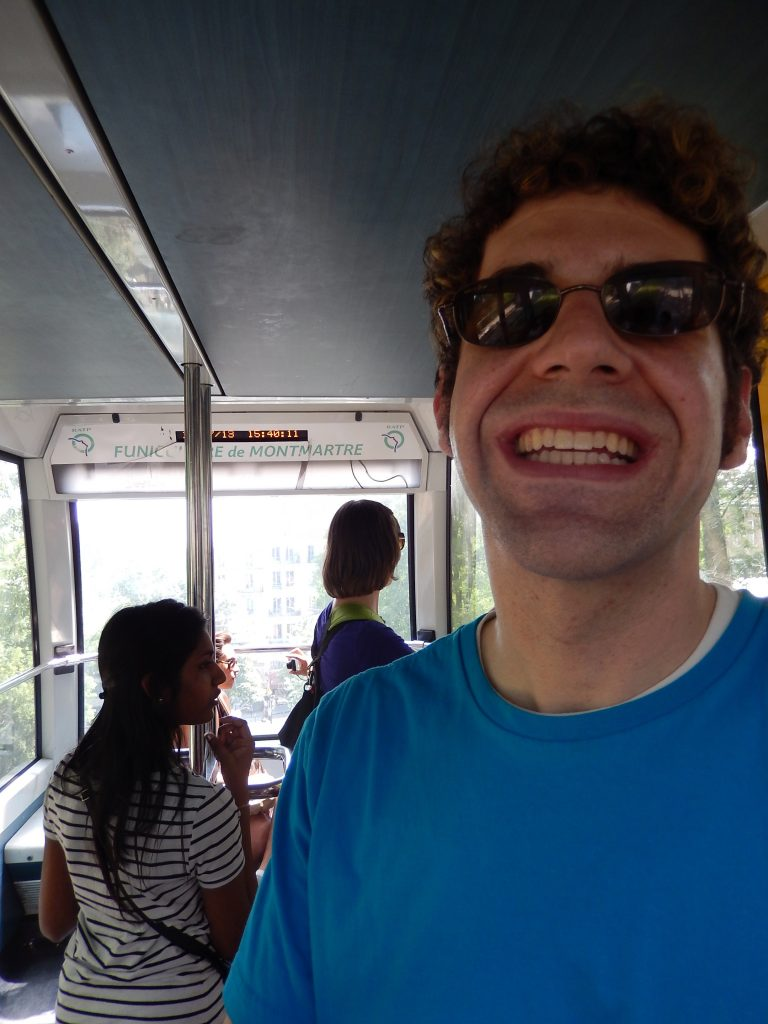 Funicular de Montmartre - my first on our honeymoon. But can't you tell from my smile?