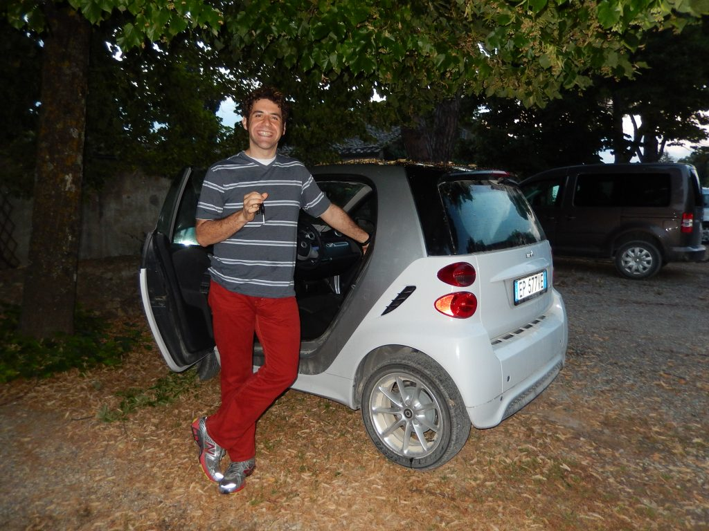 Tiny Mercedes Smart we used for tooling around Italy on our honeymoon. But still an automatic. I still have a strange affection for these guys and hope to rent another one soon.