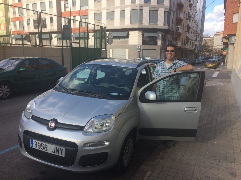 Me and the Fiat Panda after a successful parallel parking job.
